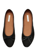 Suede ballet pumps - Black - Ladies | H&M 2